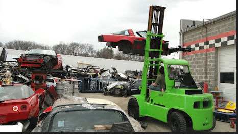 Corvette Moved out of the Salvage Yard